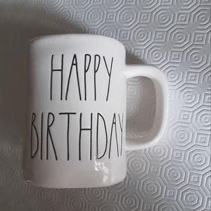 Rae Dunn white and yellow Happy Birthay mug